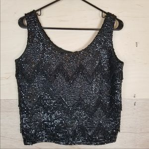 Vintage Maison Blanche Sequined Beaded Blouse